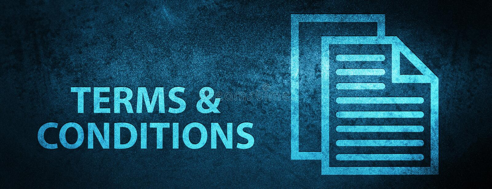 Terms and conditions (pages icon) special blue banner background. Terms and conditions (pages icon) isolated on special blue banner background abstract stock illustration