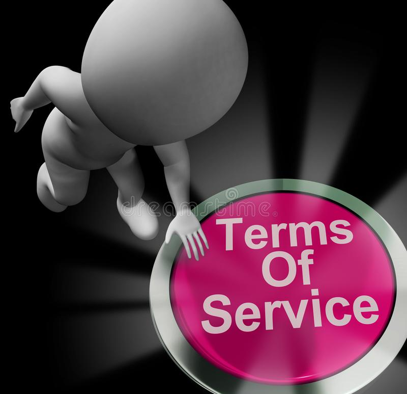 Terms of service button to show general user requirements - 3d illustration. Terms of service button to show general user requirements. Restrictions and rules to stock illustration