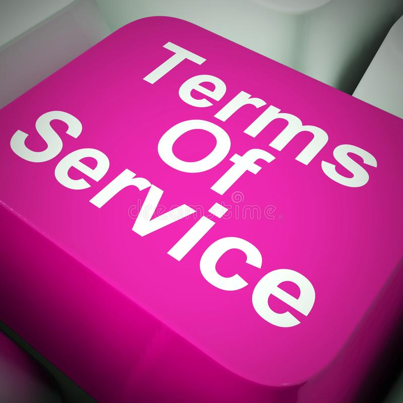 Terms of service button to show general user requirements - 3d illustration. Terms of service button to show general user requirements. Restrictions and rules to royalty free illustration
