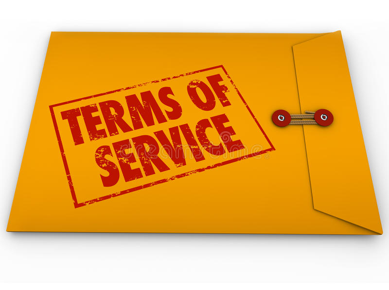 Terms of Service Yellow Envelope TOS Conditions Contract Restrictions. Terms of Service words on stamp on yellow envelope to illustrate a contract, obligations stock illustration
