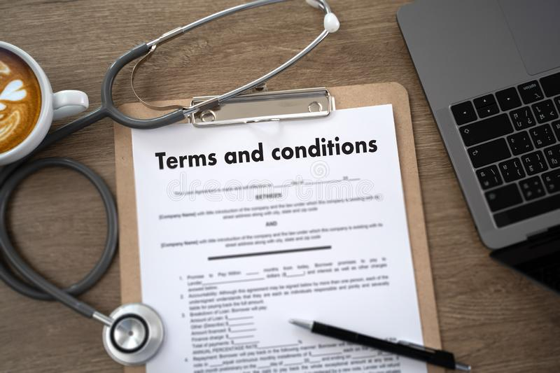 Terms of use confirm terms disclaimer conditions to policy service man use pen Terms and conditions agreement or document. D stock images