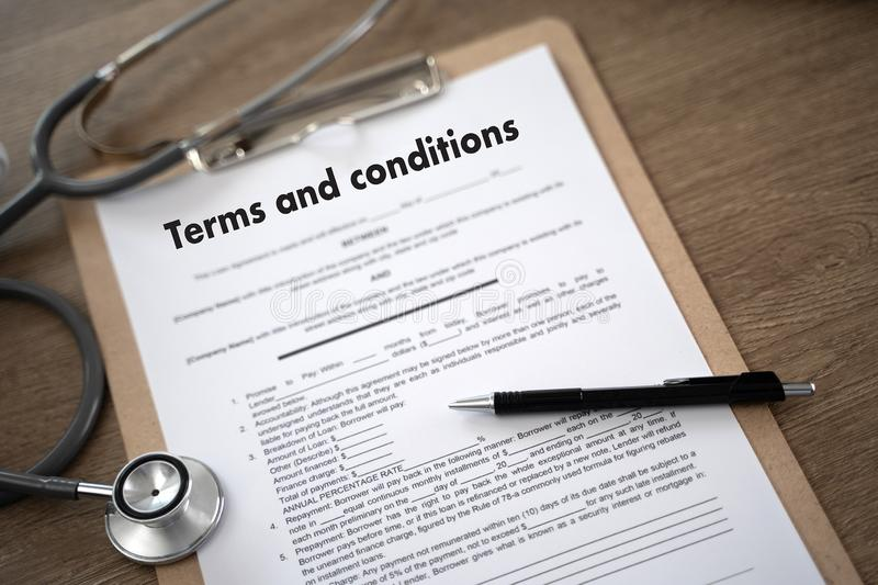 Terms of use confirm terms disclaimer conditions to policy service man use pen Terms and conditions agreement or document. D stock photos