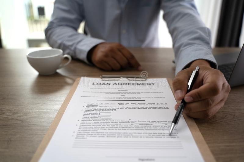Terms of use confirm terms disclaimer conditions to policy service man use pen Terms and conditions agreement or document. D royalty free stock image