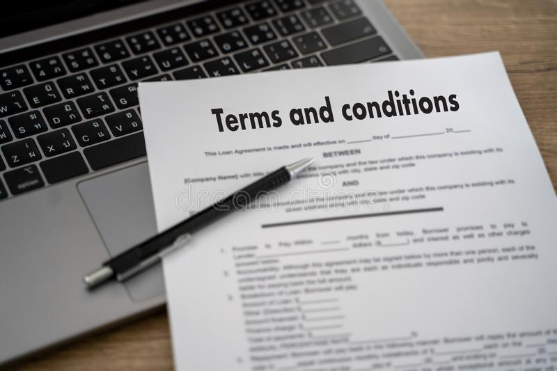 Terms of use confirm terms disclaimer conditions to policy service man use pen Terms and conditions agreement or document. D stock image