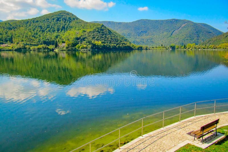 Lake Di Piediluco near Terni, Italy. Eternal peace and marvel harmony that forces you to contemplate the beauty. No photoshop correction, just one shot of Lake stock image