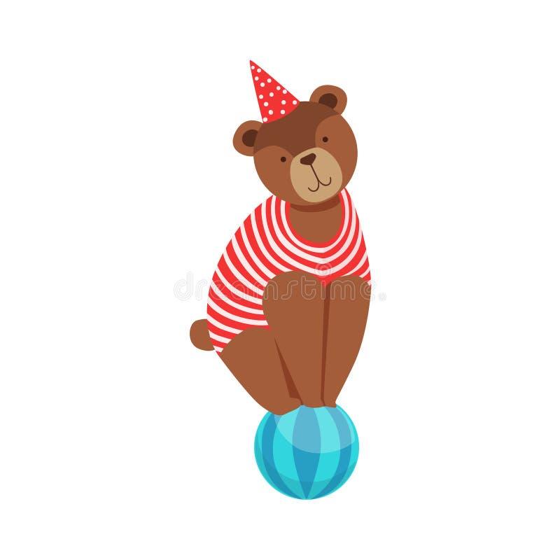 Terno animal de In Stripy Body do artista do urso do circo que executa o equilíbrio acrobático no conluio da bola para a mostra d ilustração stock
