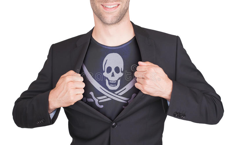 Terno da abertura do homem de negócios para revelar a camisa com bandeira imagens de stock