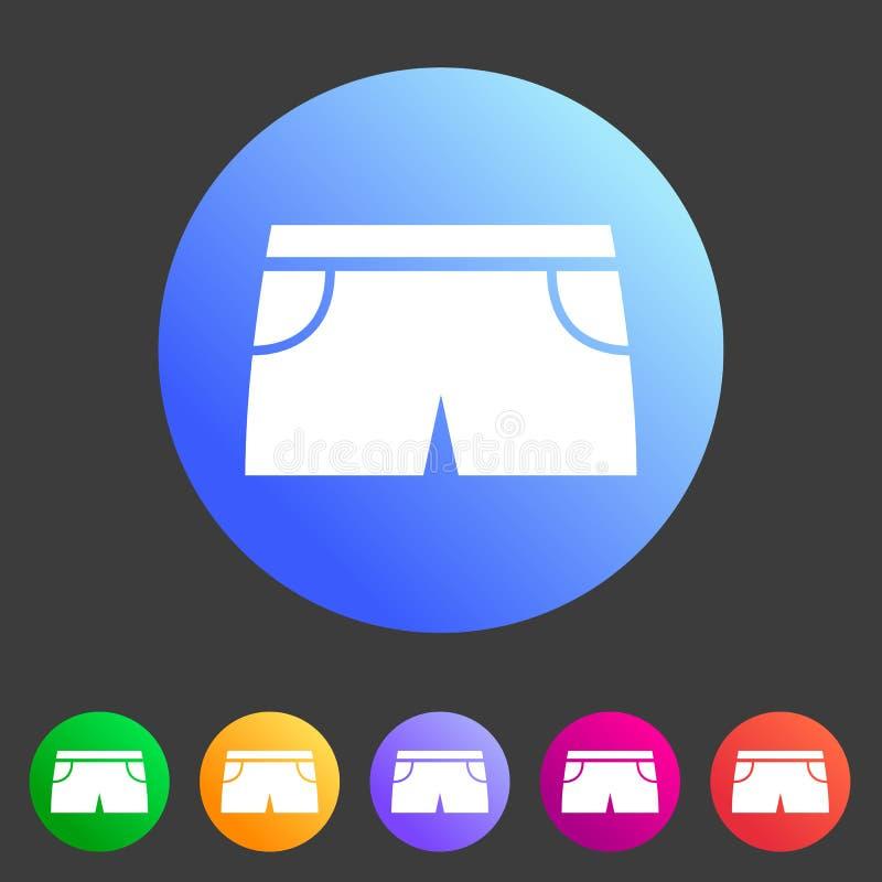 Terno nadador dos shiorts para a etiqueta lisa do logotipo do símbolo do sinal da Web do ícone dos homens fotografia de stock