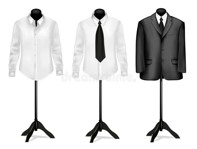 Terno preto e camisa branca em mannequins. Vetor. ilustração stock