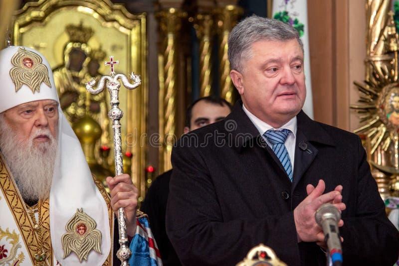 """Ternopil,  DeÑ do †de UCRÂNIA de """" 18, 2018: Patriarca honorário da igreja ortodoxa ucraniana autocephalous unida Filaret e imagens de stock"""