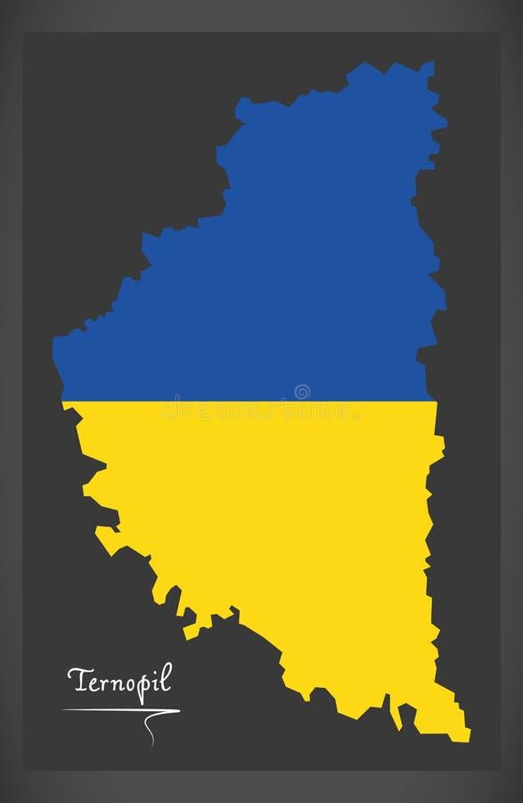 Ternopil map of Ukraine with Ukrainian national flag illustration. Ternopil map of Ukraine with Ukrainian national flag stock illustration