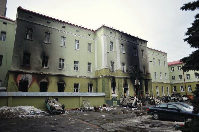 Ternopil, UCRAINA - febbraio 2014: Euromaidan giro immagine stock libera da diritti