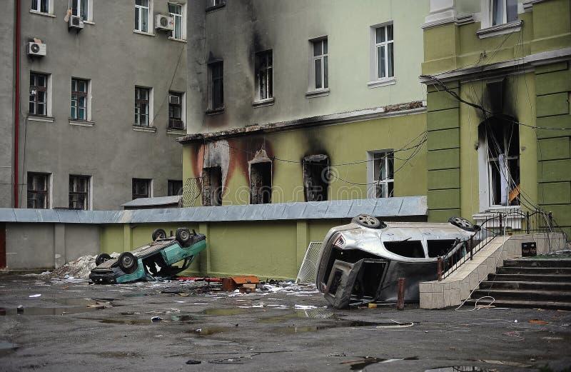 Ternopil, UCRAINA - febbraio 2014: Euromaidan giro immagini stock
