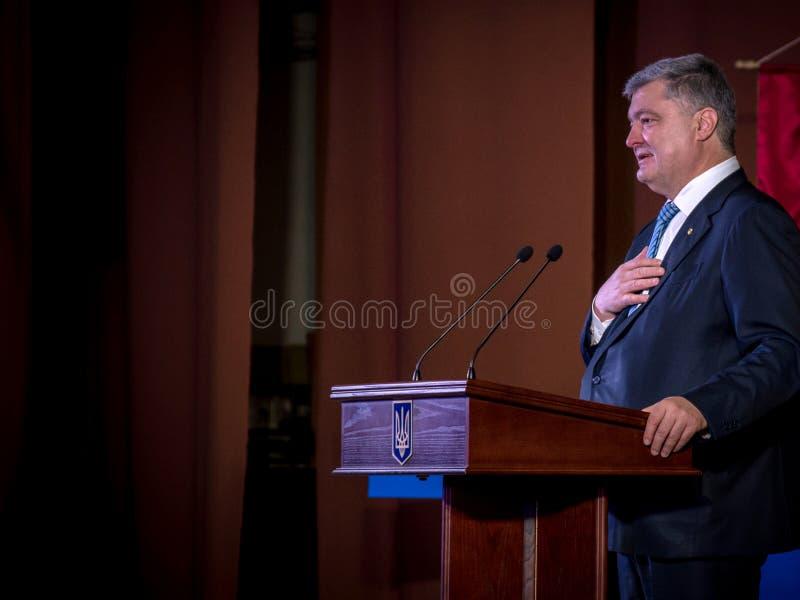 Ternopil, UKRAINE – Deс. 18, 2018: President of Ukraine Petro Poroshenko during a meeting with the public in Ternopil.  royalty free stock photo