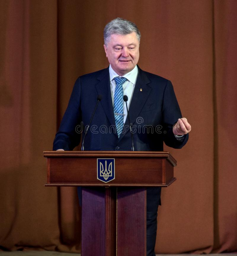 Ternopil, UKRAINE – Deс. 18, 2018: President of Ukraine Petro Poroshenko during a meeting with the public in Ternopil.  royalty free stock image