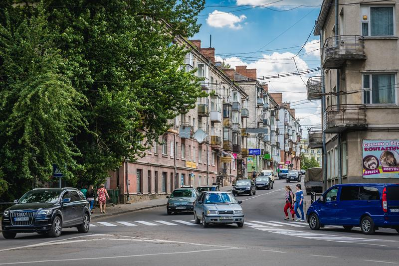 Ternopil in Ukraine. Ternopil, Ukraine - June 9, 2017: Street in Ternopil city stock image