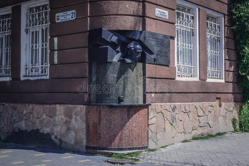 Ternopil in Ukraine. Ternopil, Ukraine - June 9, 2017: Viacheslav Chornovil statue on a building in Ternopil city stock photos