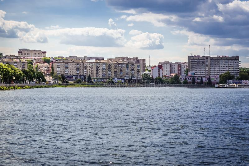 Ternopil in Ukraine. Ternopil, Ukraine - June 9, 2017: View from Park of Taras Shevchenko with buildings over lake in Ternopil royalty free stock images