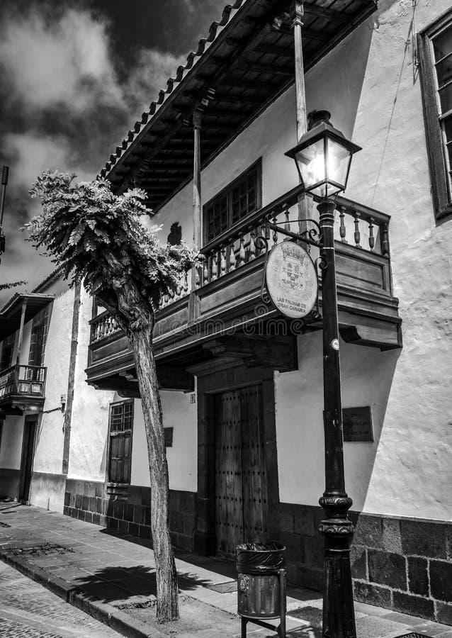 Teror - traditioneel huis in zwart-wit royalty-vrije stock foto's