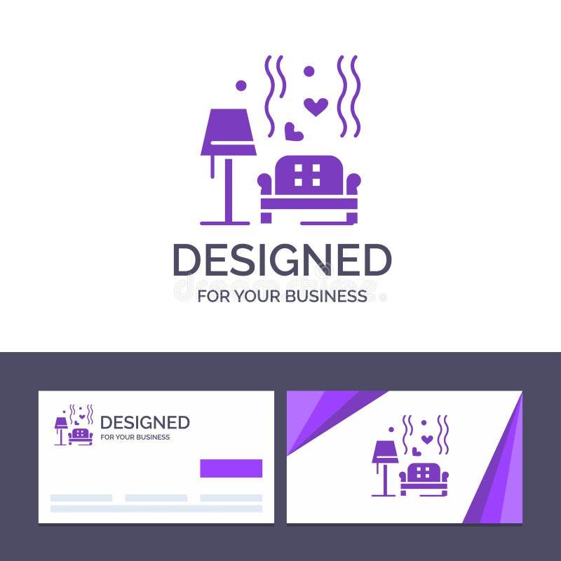 Terrón de visita de la plantilla creativa de la tarjeta y del logotipo, sofá, amor, corazón, ejemplo del vector de la boda ilustración del vector