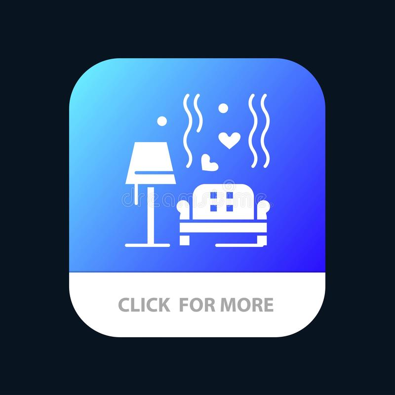 Terrón, sofá, amor, corazón, botón móvil del App de la boda Android y versión del Glyph del IOS stock de ilustración