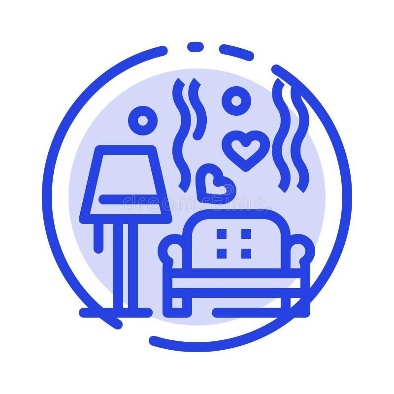 Terrón, sofá, amor, corazón, casandose la línea de puntos azul línea icono stock de ilustración