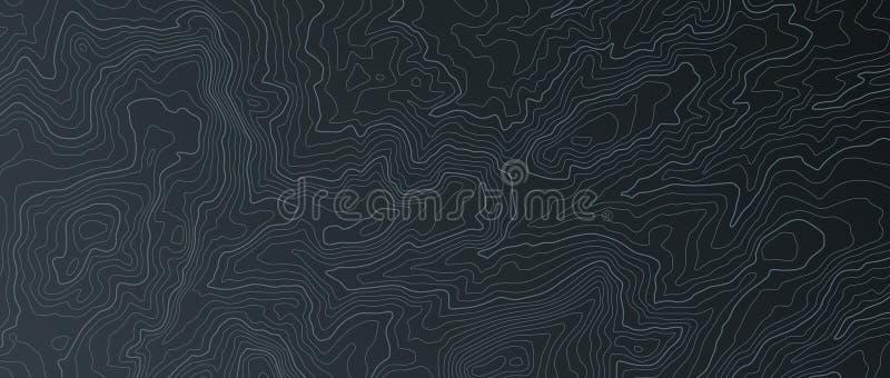 Terr?ng?versikt Drar upp konturerna av slingor, geografisk lättnad för bildrastret som den topographic konturlinjen kartlägger ka royaltyfri illustrationer