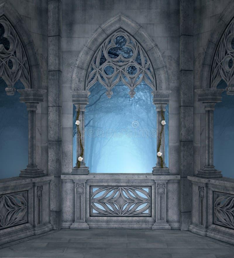 Terraço romântico em uma noite quieta ilustração stock