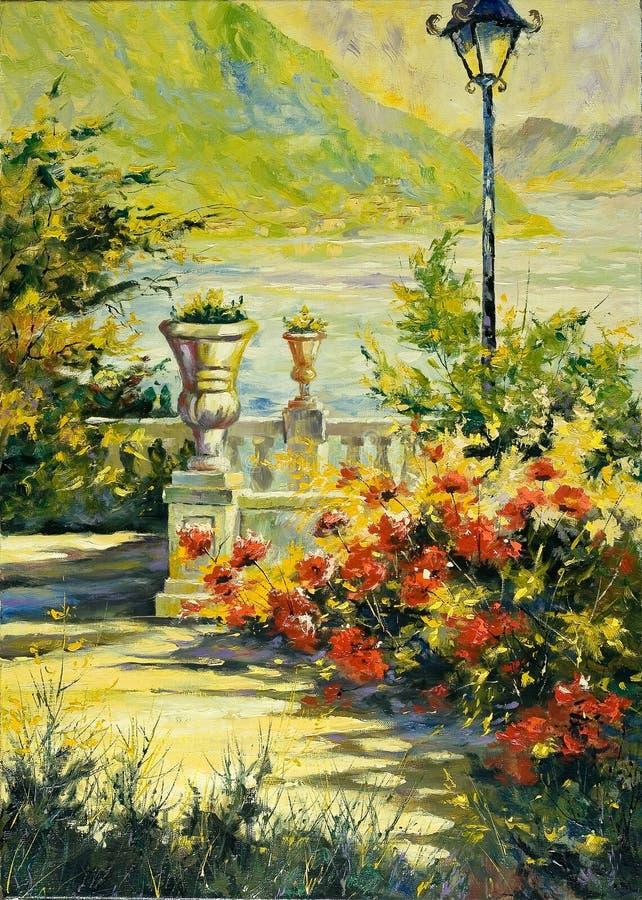 Terraço com flores e uma lanterna