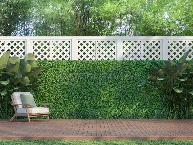 Terraço de madeira exterior no jardim 3d para render ilustração stock