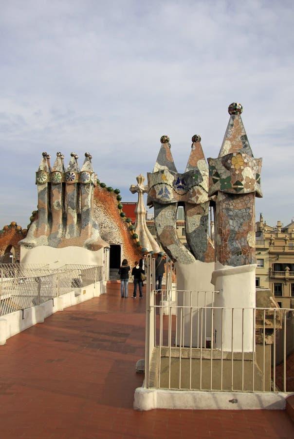 Terraço do dragão da construção de Batllo da casa Barcelona, Catalonia, Spain imagens de stock
