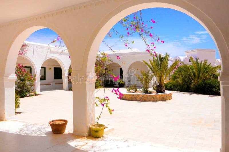 Terraço exterior com as flores cor-de-rosa da buganvília, museu de Djerba, Tunísia fotos de stock