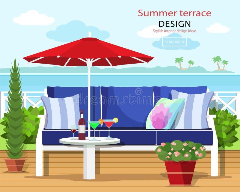 Terraço gráfico colorido do verão pelo mar O sofá e o guarda-chuva no balcão com o mar ajardinam Estilo liso ilustração do vetor