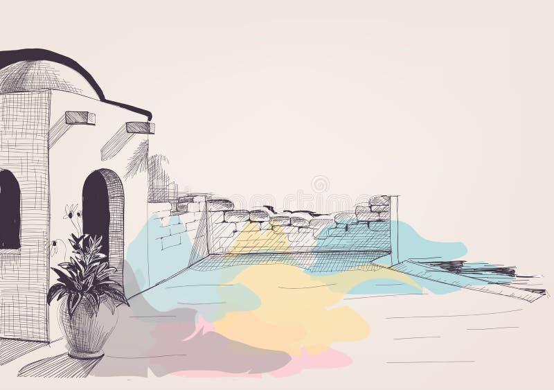 Terraço mediterrâneo da casa no esboço da praia ilustração royalty free