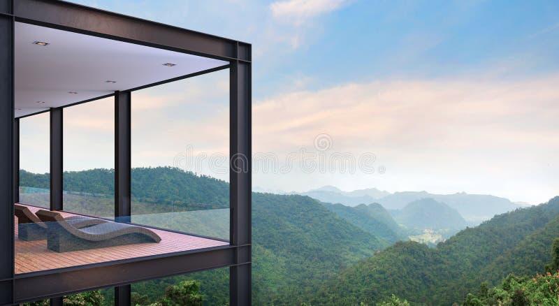 Terraço moderno da casa da construção de aço com imagem da rendição do Mountain View 3d ilustração do vetor