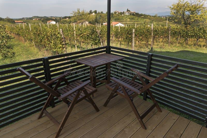 Terraço para o abrandamento com paisagem mediterrânea pitoresca e vinhedos foto de stock royalty free