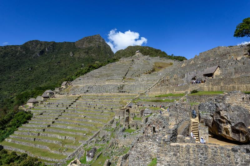 Terraços agrícolas em Machu Picchu foto de stock