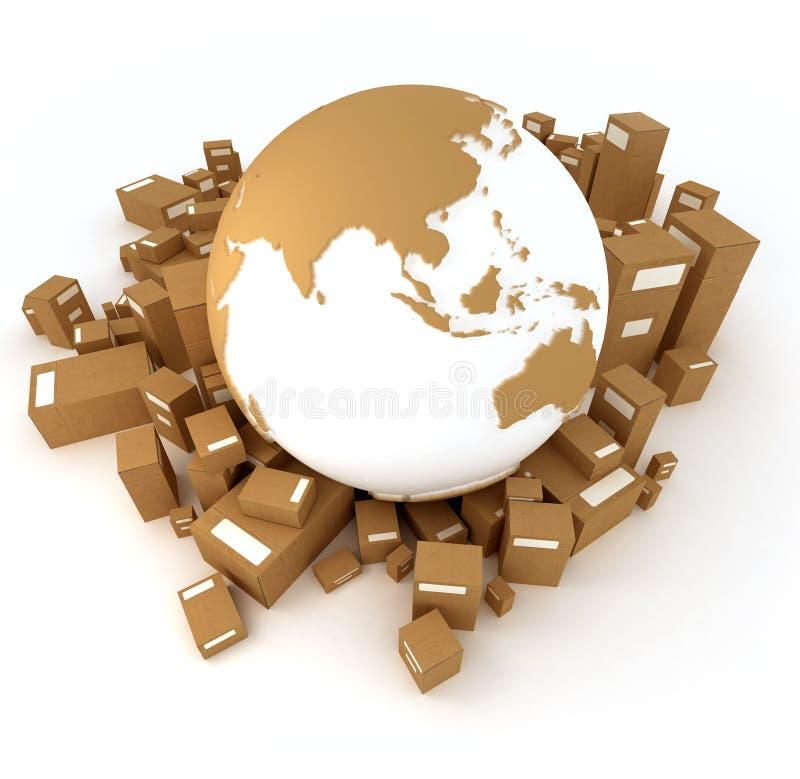 Terra Ásia orientada com pacotes ilustração do vetor