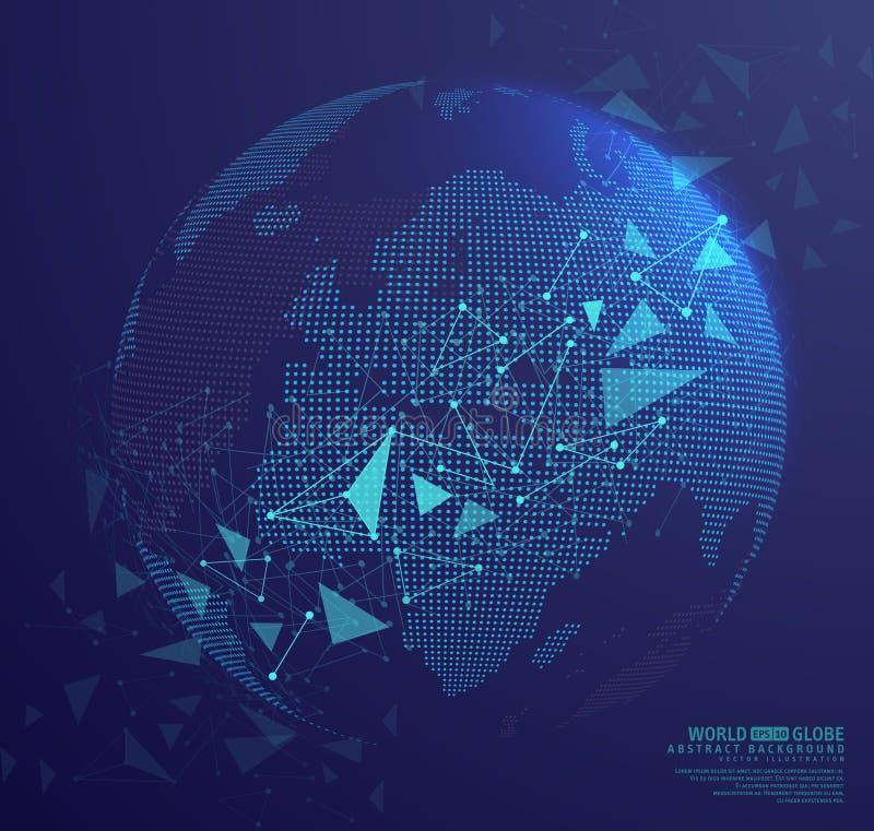 Terra abstrata do globo com pontos de conexão ilustração royalty free