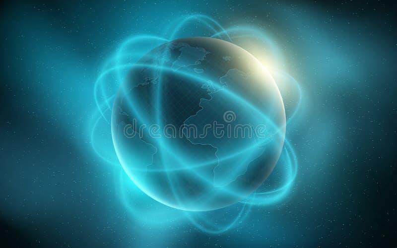 Terra abstrata do planeta Linhas borradas movimento Fundo futurista Composição do espaço Nascer do sol azul e névoa Mapa de mundo ilustração stock