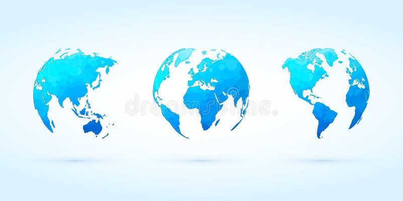 Terra ajustada do planeta do mundo do vetor azul abstrato dos globos do círculo ilustração do vetor