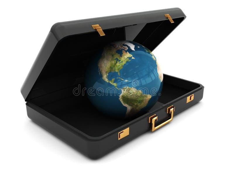 Terra all'interno della valigia illustrazione di stock
