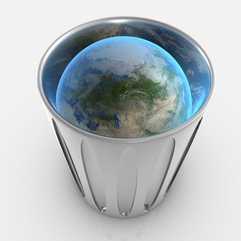 Terra all'interno di trashcan immagini stock libere da diritti