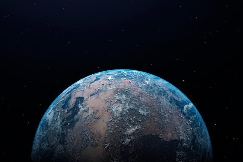 Terra alla notte come visto da spazio con atmosfera e spazio blu e d'ardori alla cima illustrazione 3D illustrazione di stock