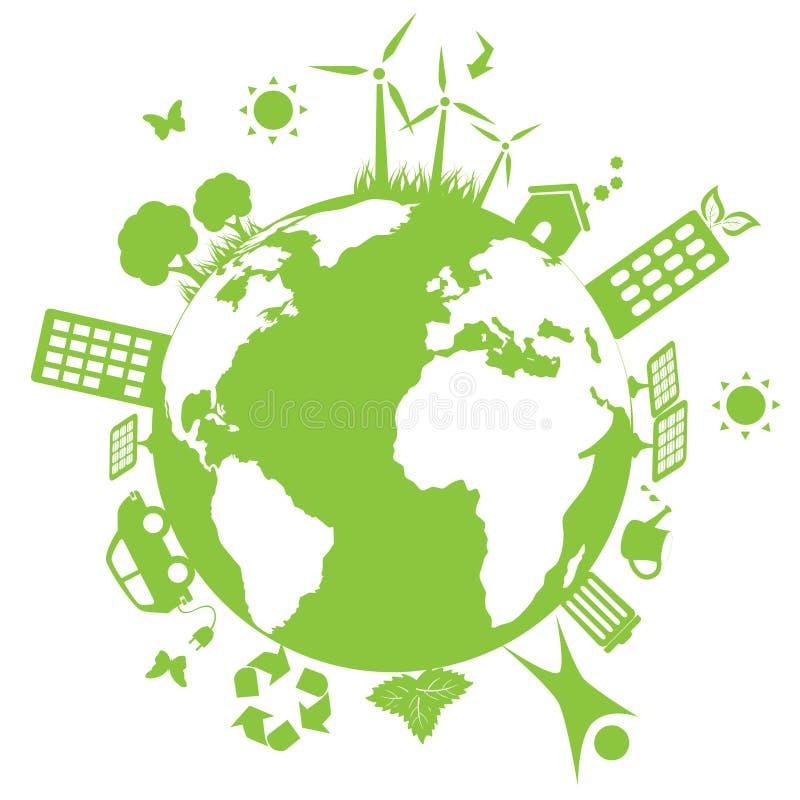 Terra ambiental verde ilustração stock