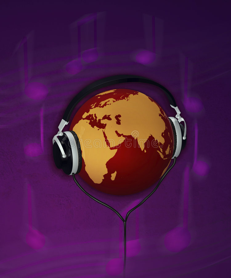 Terra & conceito 3d da música ilustração do vetor