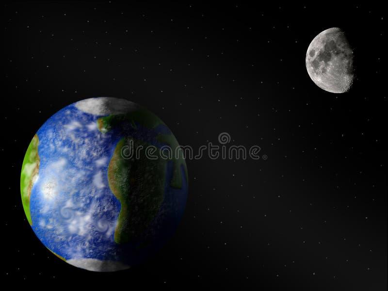Terra & lua ilustração do vetor