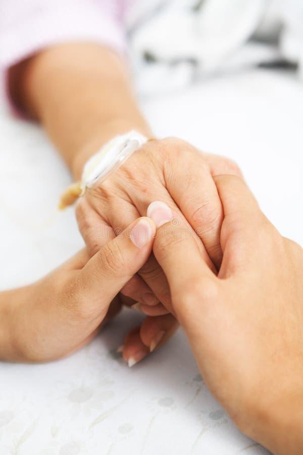 Terra arrendada da filha sua mão da matriz no hospital foto de stock