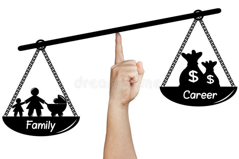 Terra arrendada da mão da carreira da família do equilíbrio da escala isolada fotos de stock