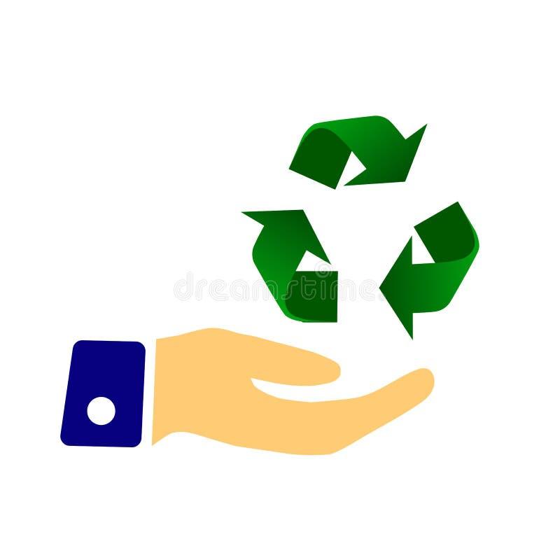 A terra arrendada da mão recicla o símbolo sinal ilustração stock